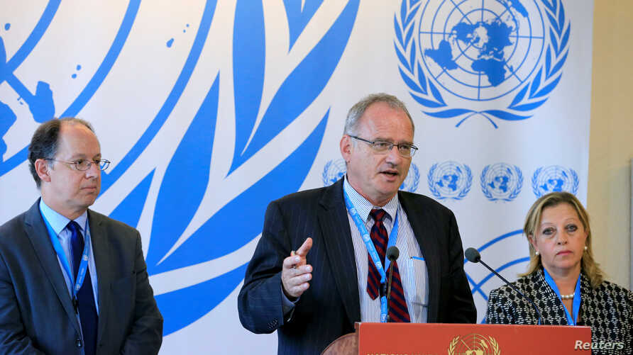 U.N. Independent Investigation on Burundi  independent experts, from left, Pablo de Greiff, Christof Heyns and Maya Sahli-Fadel, talk to the media after presenting a final report to the Human Rights Council in Geneva, Sept. 27, 2016.