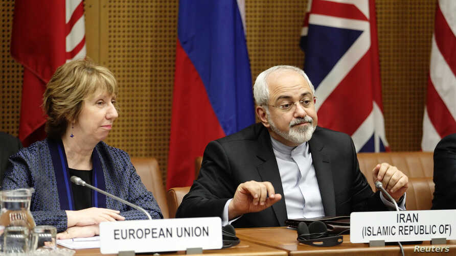 European Union Foreign Policy Chief Catherine Ashton (L) and Iranian Foreign Minister Mohammad Javad Zarif wait for the beginning of talks in Vienna June 17, 2014.