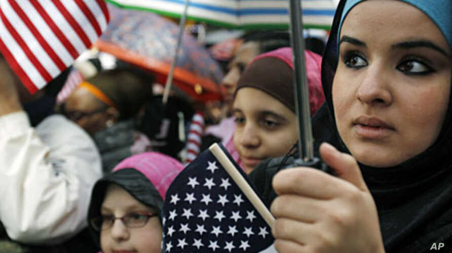 """Muslim Americans listen to a speaker at the """"Today, I Am A Muslim, Too"""" rally in New York City (File)"""