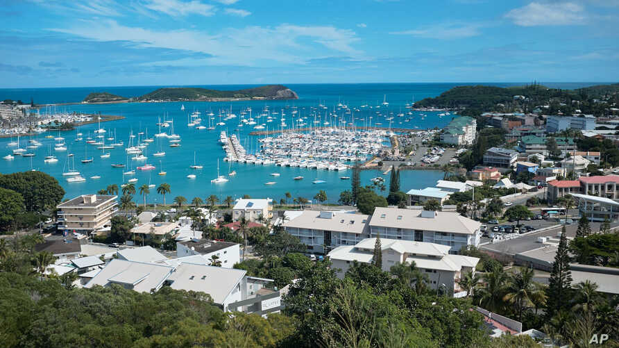FILE - This May 9, 2018, photo shows a general view of the bay of Noumea, the capital of New Caledonia, with the yachting port in the background. New Caledonia, a French archipelago in the South Pacific, is preparing for an independence referendum on