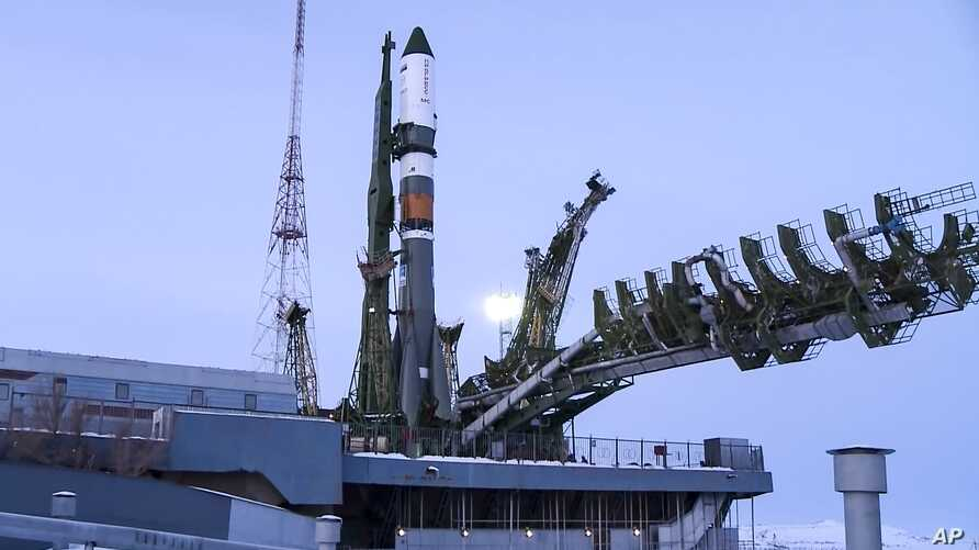 In this file photo distributed by Roscosmos Space Agency Press Service, Feb. 11, 2018, Russian cargo ship Soyuz 2,1A is seen on the launch pad at Russia's main space facility in Baikonur, Kazakhstan.