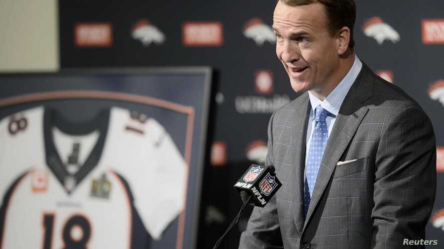 Denver Broncos quarterback Peyton Manning speaks during his retirement announcement press conference at the UCHealth Training Center, Mar 7, 2016; Englewood, CO, USA. (Ron Chenoy-USA TODAY Sports - RTS9PMK)
