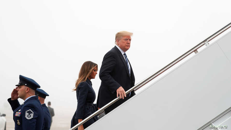 FILE - U.S. President Donald Trump and first lady Melania Trump board Air Force One as they depart Washington en route to Pennsylvania from Joint Base Andrews in Maryland, Sept. 11, 2018.