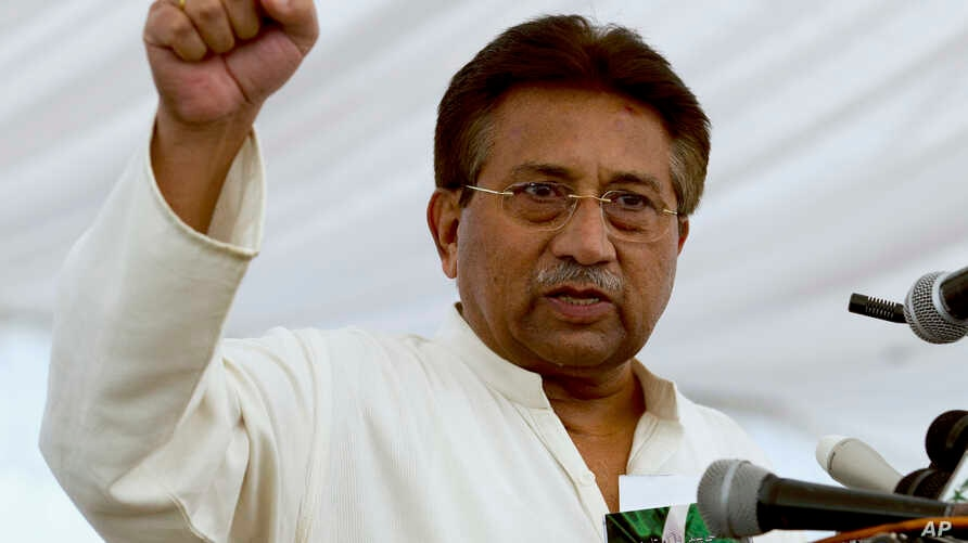 FILE - Pakistan's former President and military ruler Pervez Musharraf addresses his party supporters at his house in Islamabad,  April 15, 2013.