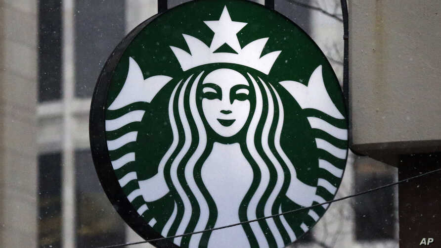 FILE - The Starbucks logo is seen at a shop in downtown Pittsburgh, Pennsylvania, March 14, 2017.