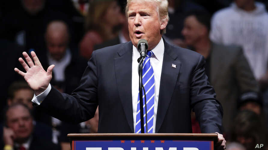 Republican presidential candidate Donald Trump speaks during a rally at the Times Union Center in Albany, New York, April 11, 2016.