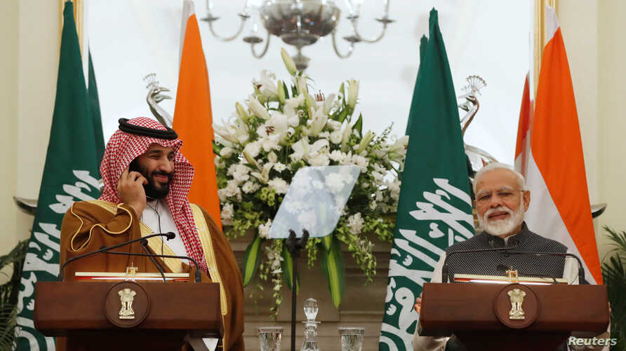 Saudi Arabia's Crown Prince Mohammed bin Salman attends a meeting with Indian Prime Minister Narendra Modi at Hyderabad House in New Delhi, India, Feb. 20, 2019.
