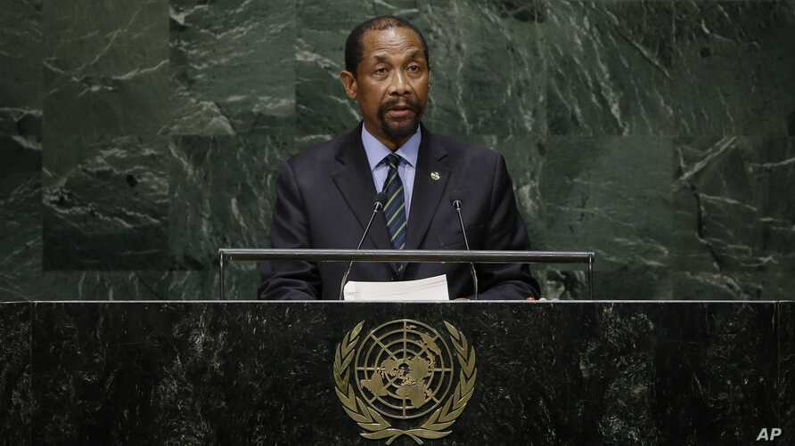 Lesotho's Foreign Minister Mohlabi Kenneth Tsekoa addresses the 69th session of the United Nations General Assembly at U.N. headquarters in New York, Sept. 29, 2014.