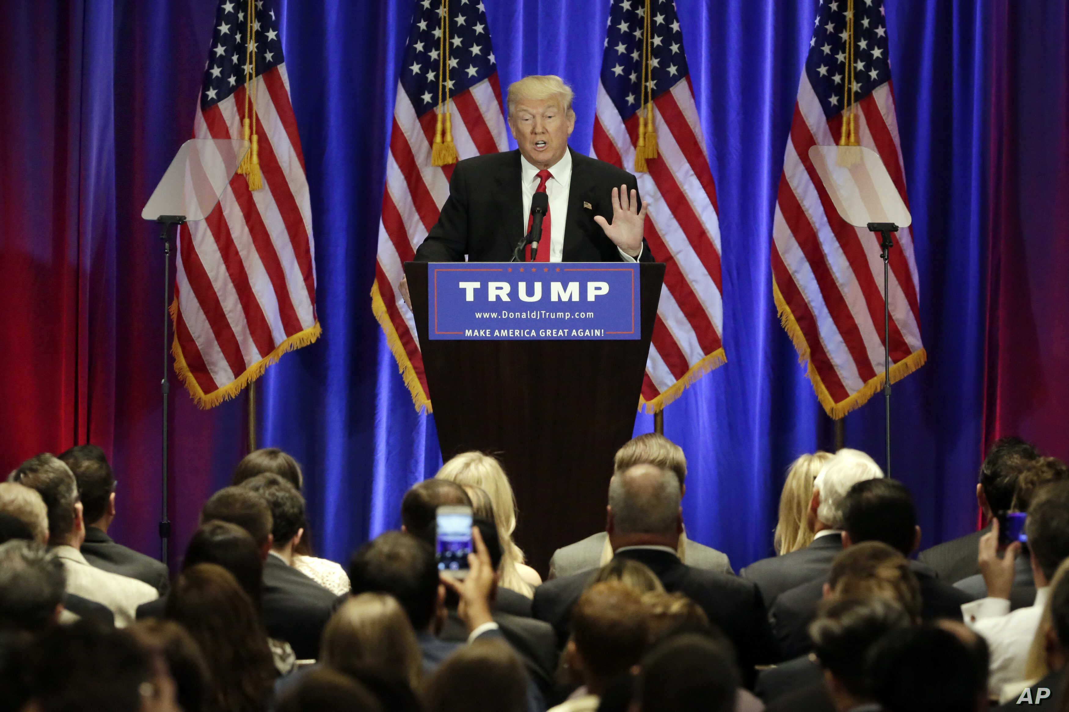 Republican presidential candidate Donald Trump speaks at the Trump Soho Hotel in New York, June 22, 2016.