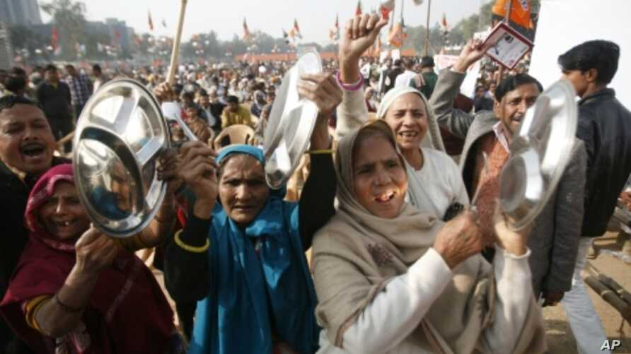 High food prices and alleged corruption sparked these opposition-driven protests in New Delhi in Dec. 2010.