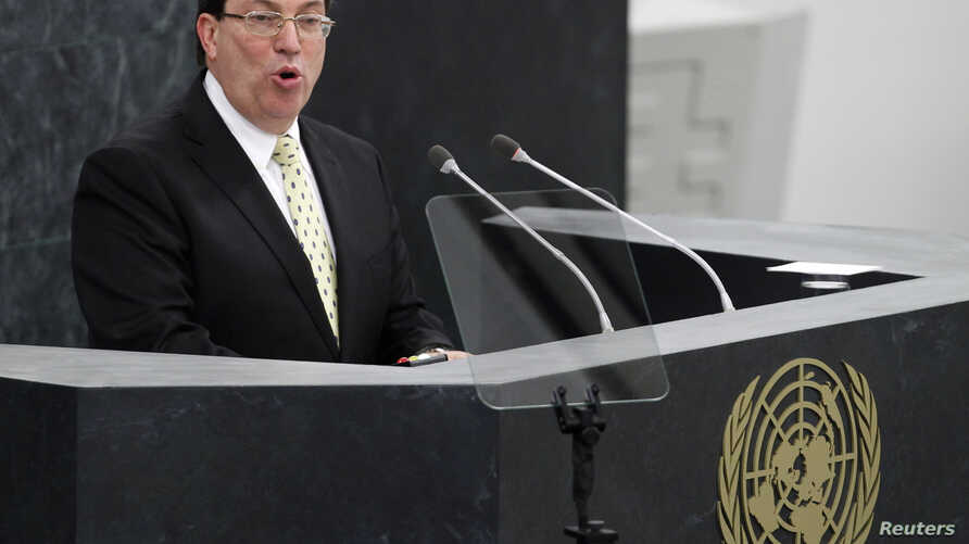 FILE - Cuban Foriegn Minister Bruno Rodriguez addresses the 68th United Nations General Assembly at U.N. headquarters in New York, September 26, 2013.
