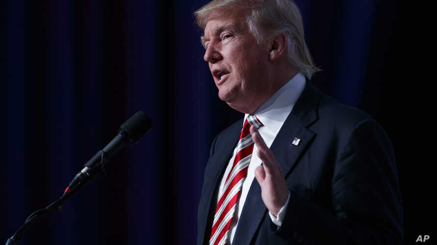 Republican presidential candidate Donald Trump speaks to the Value Voters Summit, Sept. 9, 2016, in Washington.