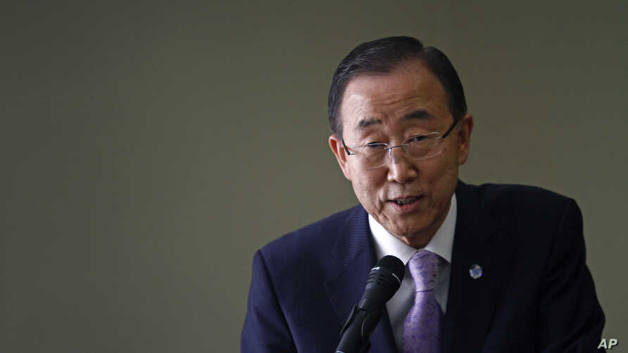 U.N. Secretary-General Ban Ki-moon speaks during a visit to the Korean Committee for UNICEF in Seoul, South Korea, Aug. 14, 2012.