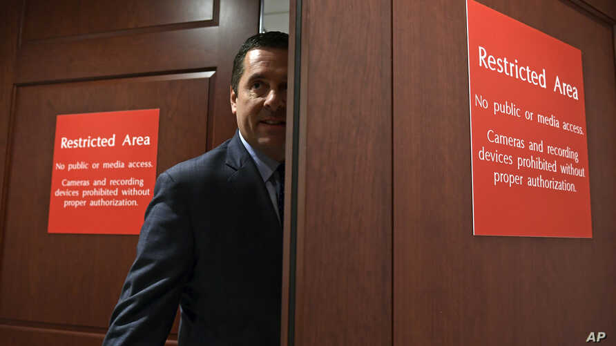 FILE - House Intelligence Committee Chairman Rep. Devin Nunes, R-Calif., enters the House Intelligence Committee area on Capitol Hill in Washington, Jan. 16, 2018.
