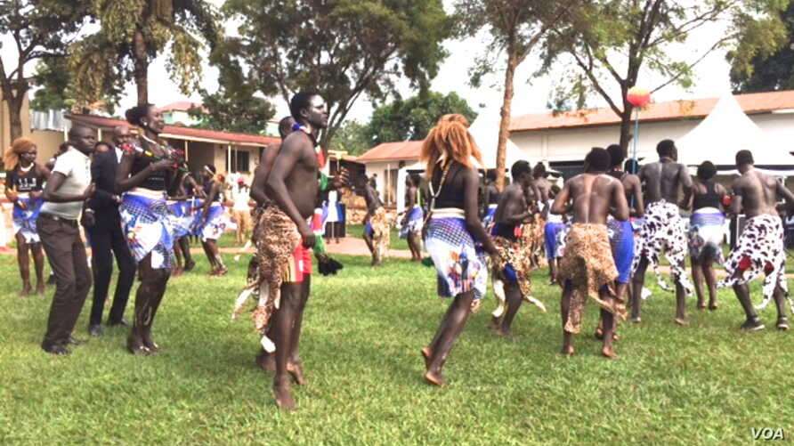 Dance troupes from South Sudan's regions of Bahr el Ghazal, Upper Nile and Equatoria participate in the Cultural Gala at the St. Lawrence University in Kampala that the South Sudanese Students' Union organized to foster peaceful coexistence among Sou