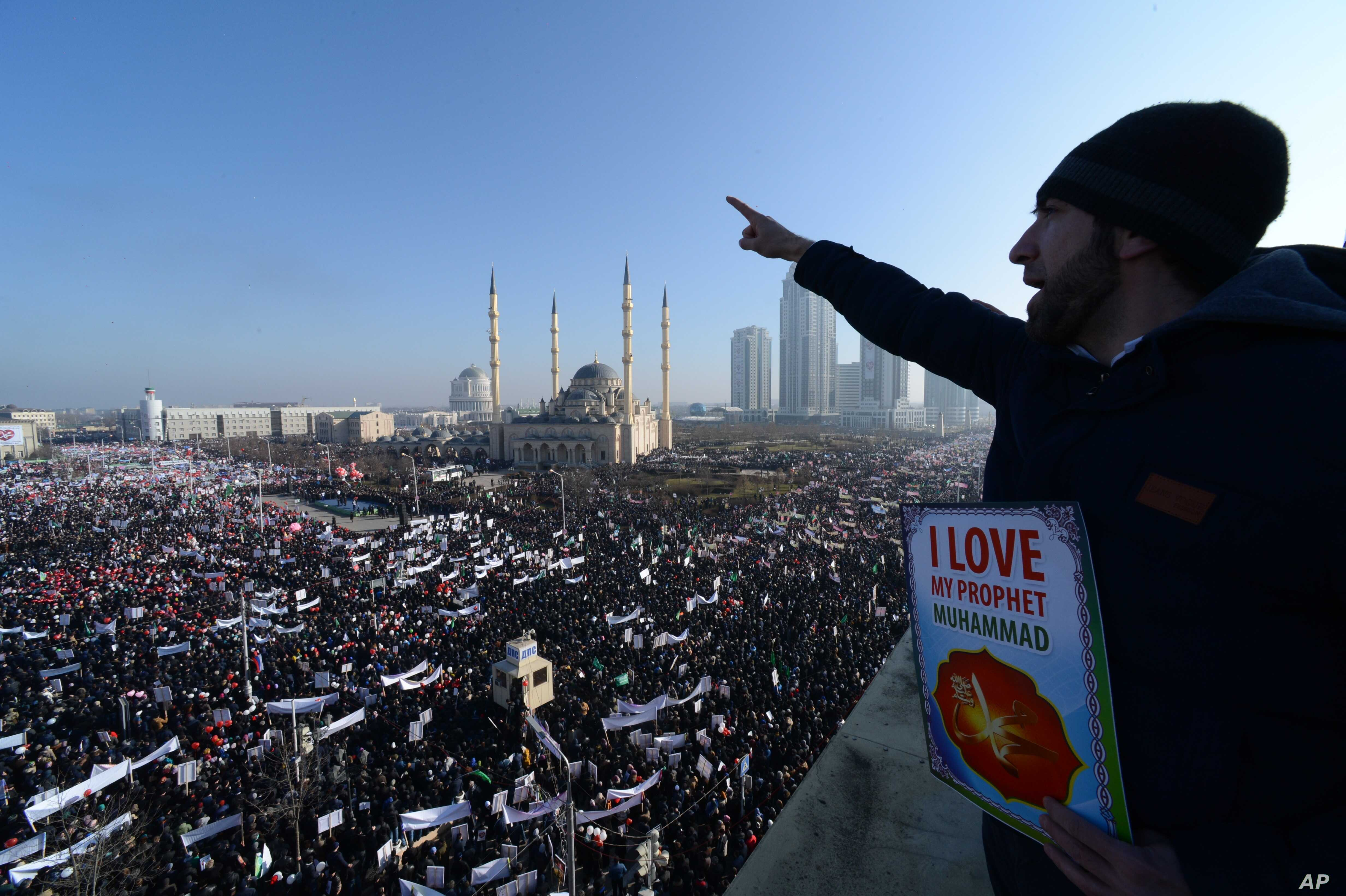 Chechen Muslims rally in their regional capital of Grozny condemning Western lampooning of their prophet, Muhammad, on Jan. 19, 2015.