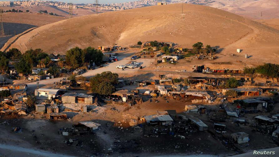 A general view shows the main part of the Palestinian Bedouin encampment of Khan al-Ahmar village that Israel plans to demolish, in the occupied West Bank, Sept. 11, 2018.