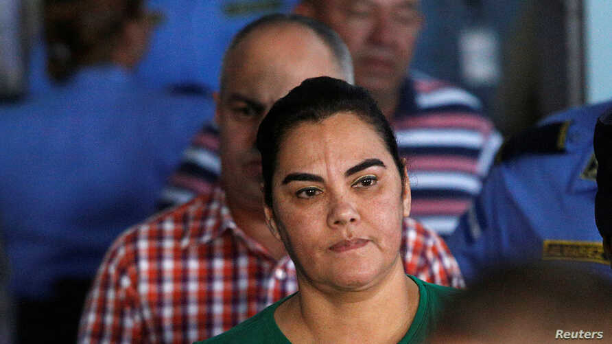 Former first lady Rosa Elena Bonilla de Lobo looks on while heading to court on corruption charges in Tegucigalpa, Feb. 28, 2018.
