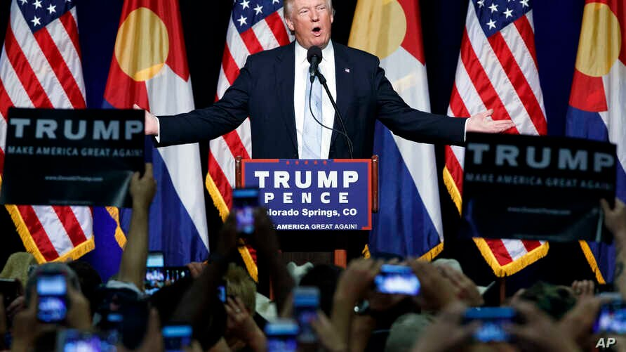 Republican presidential candidate Donald Trump speaks during a campaign rally in Colorado Springs, Colo. , July 29, 2016.
