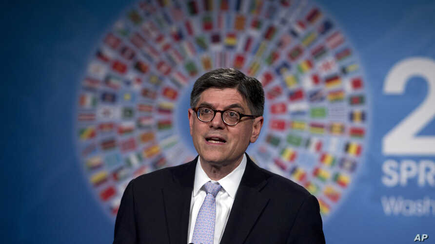 FILE - Treasury Secretary Jacob Lew speaks during a news conference during the International Monetary Fund and World Bank meetings in Washington, April 17, 2015.