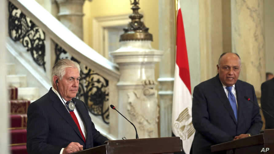 Secretary of State Rex Tillerson (L) and Egyptian Foreign Minister, Sameh Shoukry hold a press conference after their meeting, at Tahrir Palace, in Cairo, Egypt, Feb. 12, 2018.