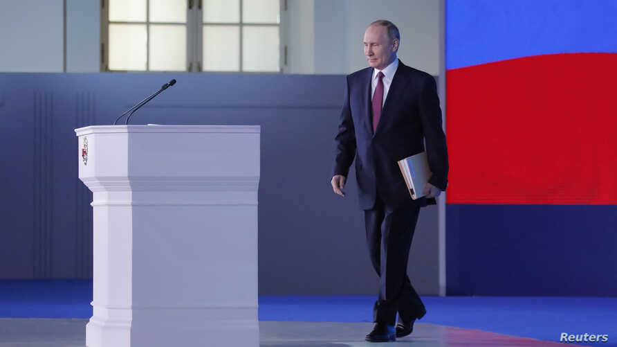 Russian President Vladimir Putin is pictured ahead of the delivery of his annual state of the nation address to the Federal Assembly in Moscow, March 1, 2018.
