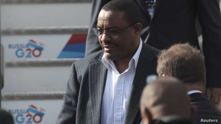 Ethiopian Prime Minister Hailemariam Desalegn walks arrives a day before the G20 Summit, St. Petersburg, Sept. 4, 2013.
