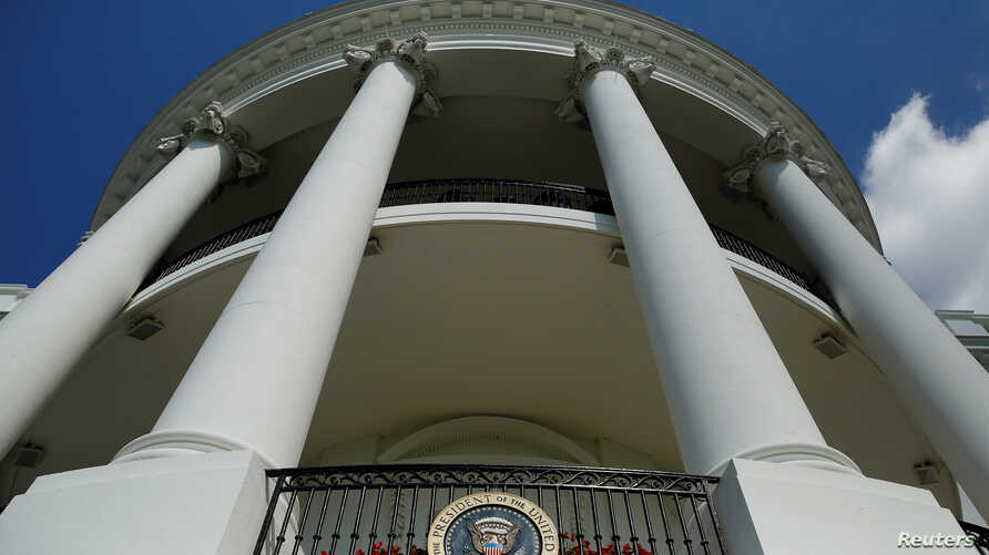 The Truman Balcony and Presidential seal. Washington, U.S., October 3, 2016.