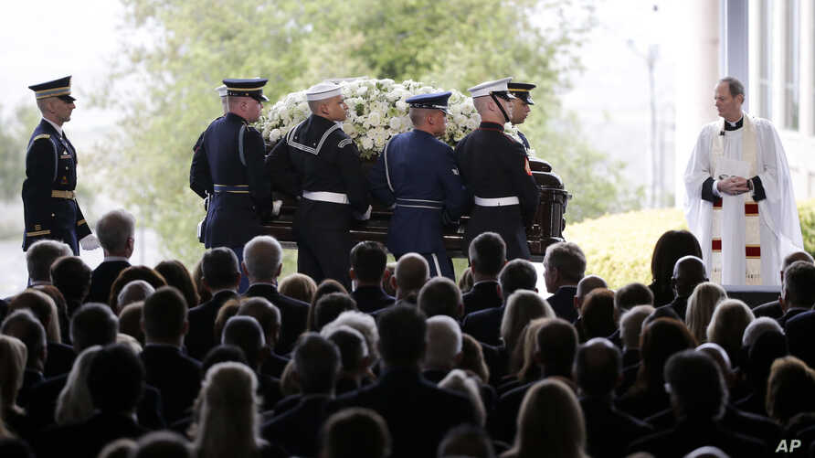 The casket carrying Nancy Reagan arrives for the funeral service at the Ronald Reagan Presidential Library in Simi Valley, California, March 11, 2016.