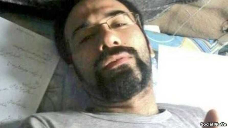 Iranian citizen-journalist Soheil Arabi, seen in an undated photo from prison in Iran