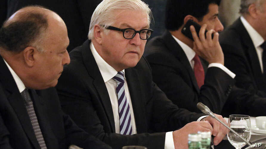 German Foreign Minister Frank-Walter Steinmeier waits for the start of Syria talks at a hotel in Vienna, Austria, Nov. 14, 2015.