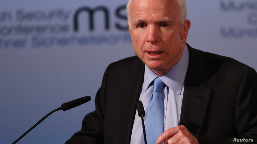 U.S. Senator John McCain speaks at the opening of the 53rd Munich Security Conference in Munich, Germany, Feb. 17, 2017.