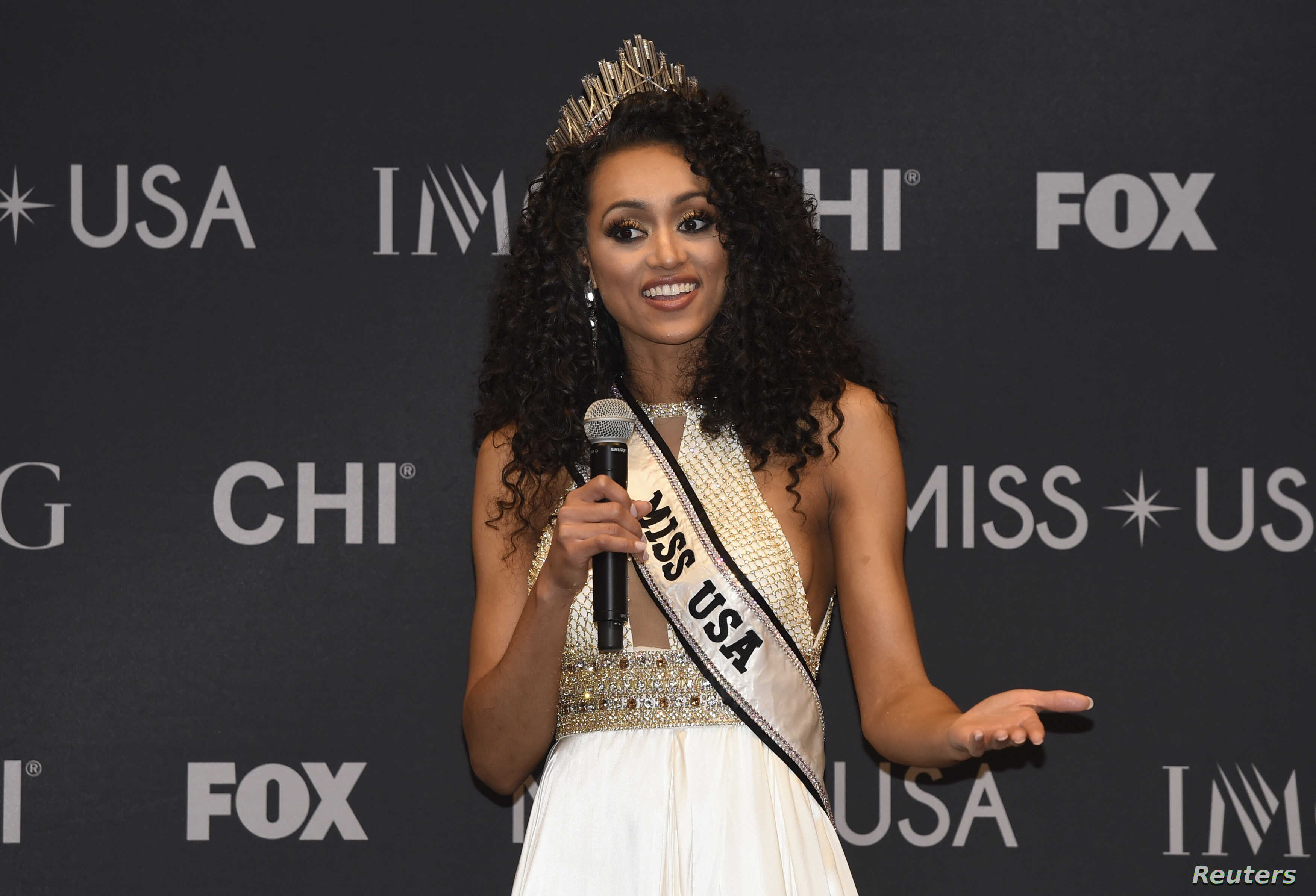2017 Miss USA Kara McCullough of the District of Columbia speaks during a press conference after the pageant.