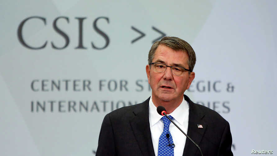 U.S. Defense Secretary Ash Carter speaks at the Center for Strategic and International Studies in Washington, October 28, 2016. Ash is continuing to talk with Turkey about a bid to take Ragga, Syria, the Islamic State stronghold.