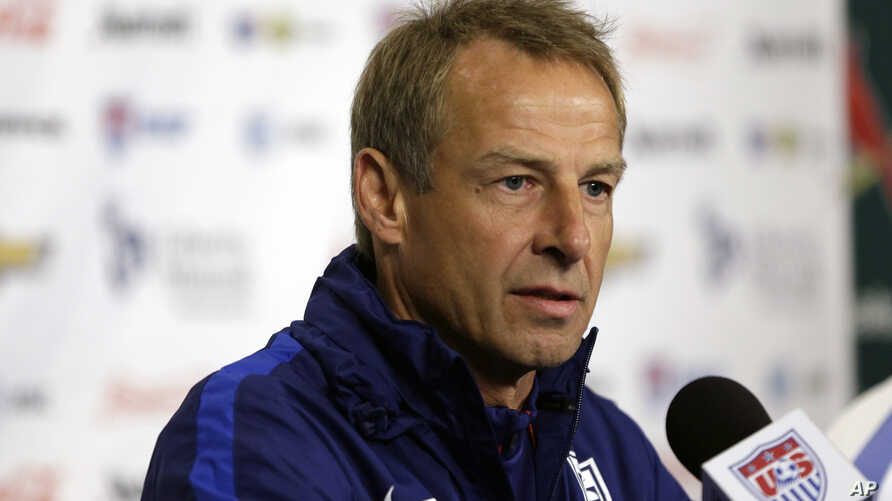 """U.S. men's national soccer team coach Jurgen Klinsmann, who has been """"relieved of his duties"""" as coach and technical director,""""  takes part in a news conference in St. Louis, Nov. 12, 2015."""