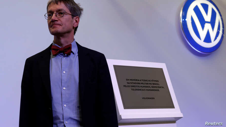 Christopher Kopper, a history professor at Germany's Bielefeld University, attends a ceremony during which he presented his study on Volkswagen's role in Brazil from 1964 to 1985, at the headquarters of the factory in Sao Bernardo do Campo, Brazil, D