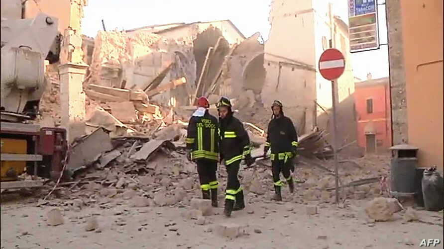 This handout TV grab released by Italian broadcast Sky Tg24 shows the destroyed basilica of Norcia after an 6.6 magnitude earthquake in Norcia, Oct. 30, 2016.