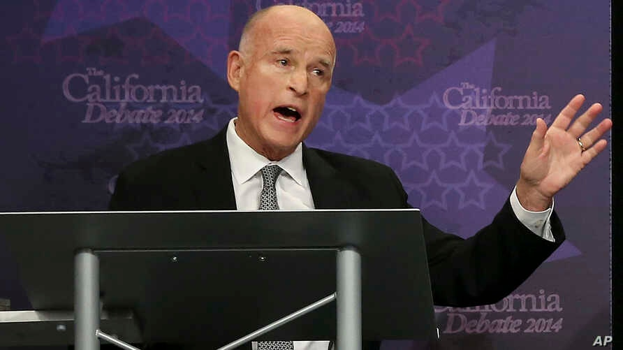 "California Gov. Jerry Brown, speaking in this Sept. 4, 2014  during a gubernatorial debate in Sacramento, has signed a bill that makes California the first in the nation to define when ""yes means yes"" and adopt requirements for colleges to follow wh..."