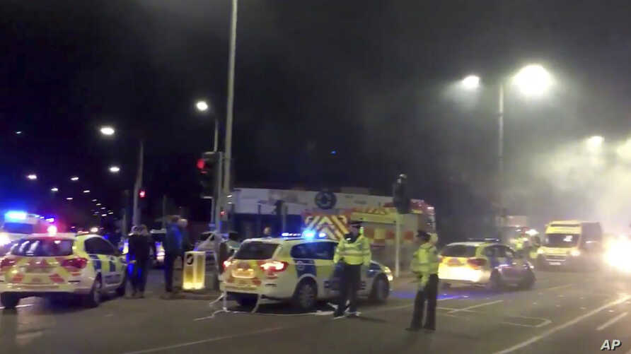 In this image taken from video made available by Gem News, police attend the scene of an incident in Leicester, central England, Sunday Feb. 25, 2018.