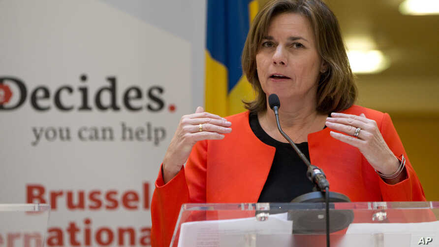 Sweden's Vice Premier Isabella Lovin speaks during a media conference, She Decides, at the Egmont Palace in Brussels on March 2, 2017. Nations pledged tens of millions of dollars at an international family planning conference in Brussels aimed at mak