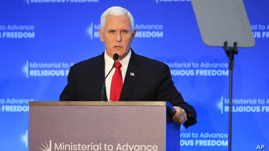 Vice President Mike Pence speaks at the close of a three-day conference on religious freedom at the State Department in Washington, July 26, 2018.