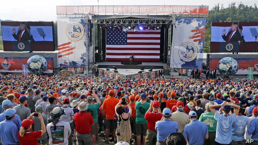 President Donald Trump waves to the crowd of scouts at the 2017 National Boy Scout Jamboree at the Summit in Glen Jean, West Virginia, July 24, 2017.