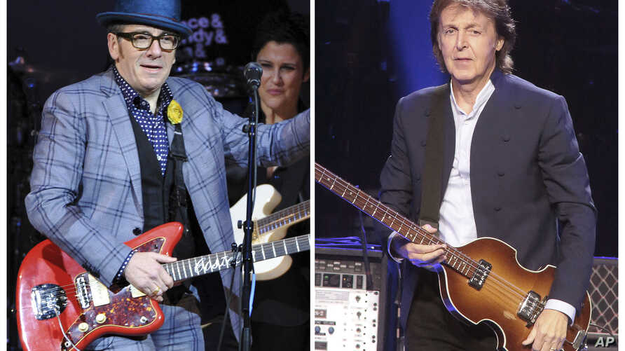 "In this combination photo, musicians Elvis Costello, left, performs at ""The Music of Prince"" tribute concert, March 7, 2013, in New York and Paul McCartney performs during his ""Out There Tour 2015,"" June 21, 2015, in Philadelphia."