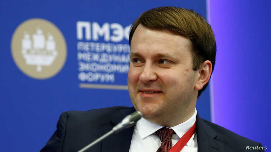 FILE - Russian Economy Minister Maxim Oreshkin attends a session of the St. Petersburg International Economic Forum (SPIEF), Russia, May 24, 2018.
