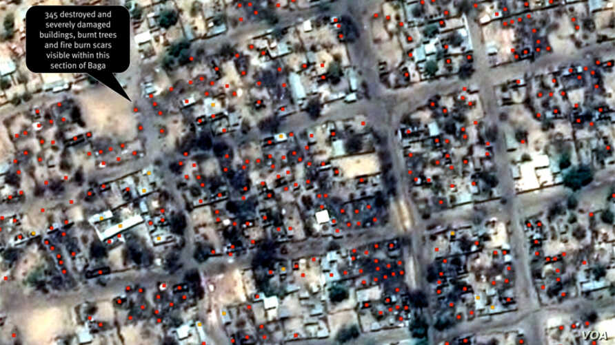 Post-violence view of concentration of building damages (area 2) as of April 26, 2013. 345 destroyed and severely damaged buildings, burnt trees and fire burn scars visible within this section of Baga.