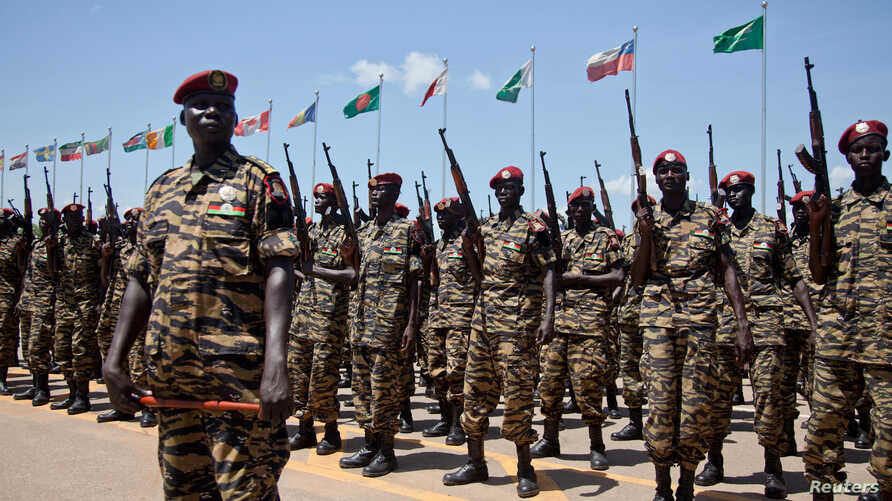 Sudan People's Liberation Army (SPLA) soldiers take part in their 29th anniversary celebrations in South Sudan's capital Juba, May 16, 2012.
