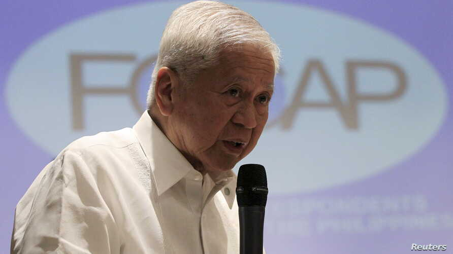 FILE - Albert del Rosario, at the time foreign secretary of the Philippines, is seen in Manila in a March 26, 2015, photo.