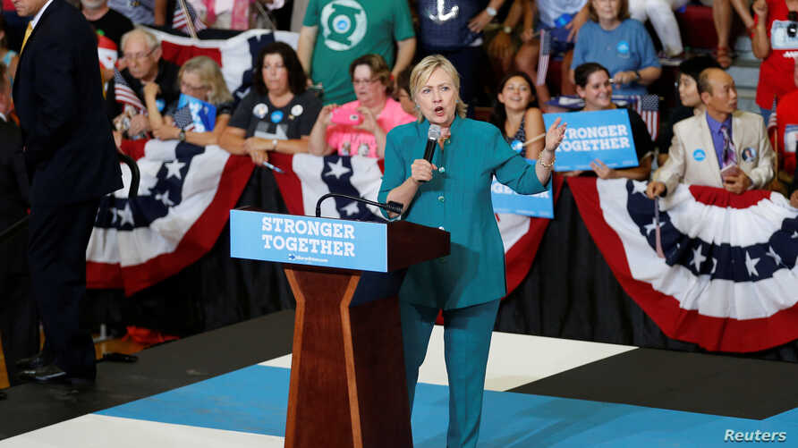 U.S. Democratic presidential nominee Hillary Clinton speaks during a rally at Lincoln High School in Des Moines, Iowa, Aug. 10, 2016.