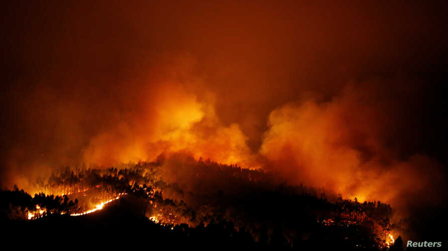 A forest fire is seen near Tojeira, Pedrogao Grande, in central Portugal, June 18, 2017.