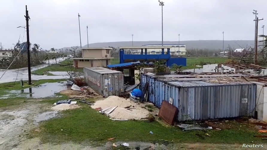 A view shows damages caused by Super Typhoon Yutu in Tinian, Northern Mariana Islands, U.S., October 25, 2018, in this still image taken from a video obtained from social media.